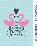 cute love card with flamingo...   Shutterstock .eps vector #674029000