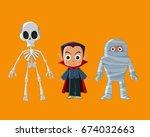 halloween vintage character... | Shutterstock .eps vector #674032663