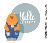 super cute and funny cartoon... | Shutterstock .eps vector #674037028