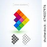 mosaic arrow logo sign set.... | Shutterstock .eps vector #674037976