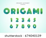 vector origami alphabet. number ... | Shutterstock .eps vector #674040139