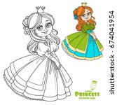 sweet girl princess with... | Shutterstock .eps vector #674041954