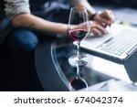 portrait of senior sommelier... | Shutterstock . vector #674042374