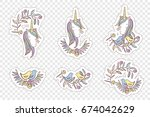 unicorn rainbow pattern   girls ... | Shutterstock .eps vector #674042629
