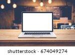modern computer laptop with... | Shutterstock . vector #674049274