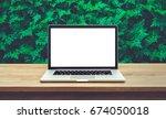 modern computer laptop with... | Shutterstock . vector #674050018