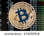golden bitcoin cryptocurrency... | Shutterstock . vector #674050918