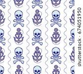 skull and anchor seamless...   Shutterstock .eps vector #674051950