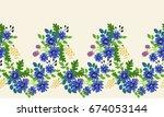seamless folk border in small... | Shutterstock .eps vector #674053144