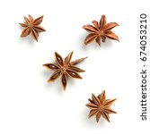 star anise  scattered in a...   Shutterstock . vector #674053210