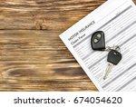 car key and motor insurance... | Shutterstock . vector #674054620