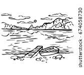 sketch hand drawn landscape.... | Shutterstock . vector #674058730