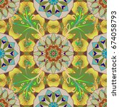 gift voucher template with... | Shutterstock . vector #674058793