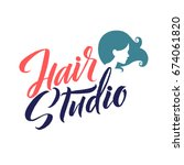 hair studio. logo beauty vector ... | Shutterstock .eps vector #674061820