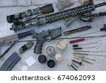 rifle stripping  cleaning tools ... | Shutterstock . vector #674062093