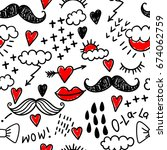 a funny pattern with doodles ... | Shutterstock .eps vector #674062759