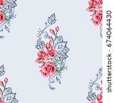 seamless pattern of red freesia ... | Shutterstock . vector #674064430