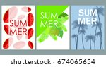 vector set of bright summer... | Shutterstock .eps vector #674065654