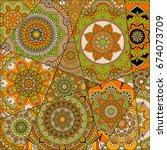 pattern with mandalas. vintage...   Shutterstock .eps vector #674073709