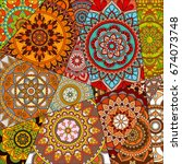 pattern with mandalas. vintage... | Shutterstock .eps vector #674073748