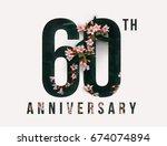 60th anniversary celebrate... | Shutterstock . vector #674074894