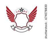 graphic winged emblem created... | Shutterstock .eps vector #674078830
