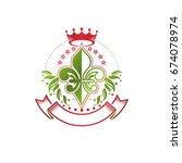 lily flower royal emblem.... | Shutterstock .eps vector #674078974