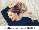 beautiful teen girl wearing... | Shutterstock . vector #674082829