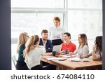image of business partners... | Shutterstock . vector #674084110