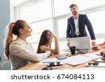 business meeting in a office | Shutterstock . vector #674084113