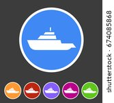 expedition boat yacht icon flat ...   Shutterstock .eps vector #674085868