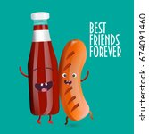 best friends forever vector... | Shutterstock .eps vector #674091460