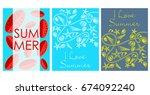 vector set of bright summer... | Shutterstock .eps vector #674092240