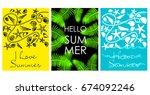 vector set of bright summer... | Shutterstock .eps vector #674092246