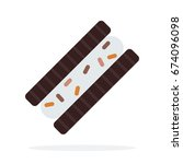 one chocolate sandwich cookies... | Shutterstock .eps vector #674096098