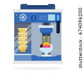 ice cream machine with wafer... | Shutterstock .eps vector #674096200