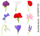 set of color flat flowers icons ... | Shutterstock .eps vector #674099710