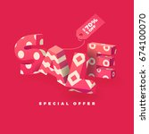 sale banner in pink color  3d... | Shutterstock .eps vector #674100070