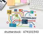 business workplace with devices ... | Shutterstock . vector #674101543