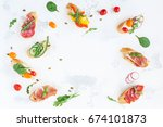 traditional spanish tapas on... | Shutterstock . vector #674101873