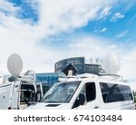 tv media television trucks with ...   Shutterstock . vector #674103484