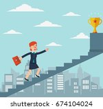 business woman going up the...   Shutterstock .eps vector #674104024