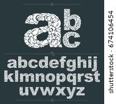 set of vector ornate lowercase... | Shutterstock .eps vector #674106454