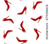 red shoes seamless pattern.... | Shutterstock .eps vector #674106616