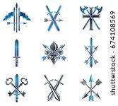 vintage weapon emblems set.... | Shutterstock .eps vector #674108569