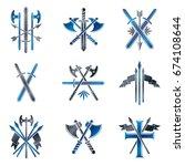 vintage weapon emblems set.... | Shutterstock .eps vector #674108644
