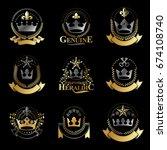 royal crowns emblems set.... | Shutterstock .eps vector #674108740