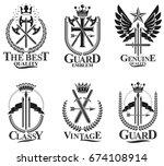 vintage weapon emblems set.... | Shutterstock .eps vector #674108914