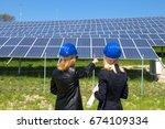 engineer in solar panel site | Shutterstock . vector #674109334
