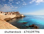seawall of antibes in southern... | Shutterstock . vector #674109796